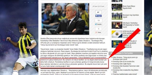 F.Bahçe resmi sitesinden Obradovic'e sansür