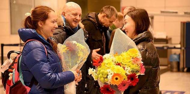Rus tekvandoculara çiçekli karşılama