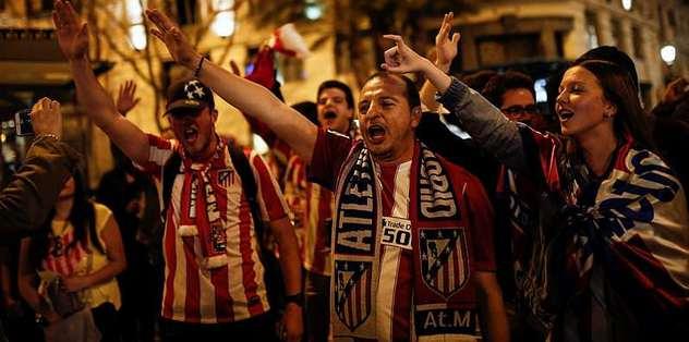 Atletico Madrid taraftarının final sevinci