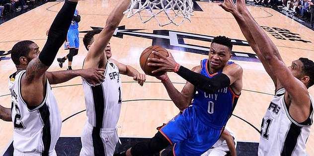 Westbrook scores 35, Thunder power past Spurs