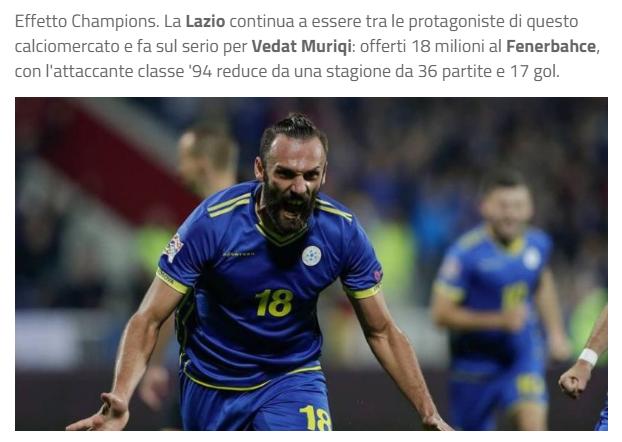lazio teklif yeniledi iste vedat muriqi icin yapilan yeni teklif 1596783876000 - Lazio rakam yeniledi! İşte Vedat Muriqi için yapılan yeni teklif